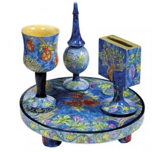 Yair Emanuel Hand-Painted 4-Piece Wood Havdalah Set, Blue - Seven Species