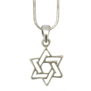 Rhodium Pendant Necklace - Star of David