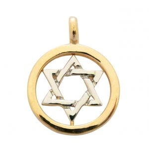 Gold Filled Two tone Circle Star of David Pendant
