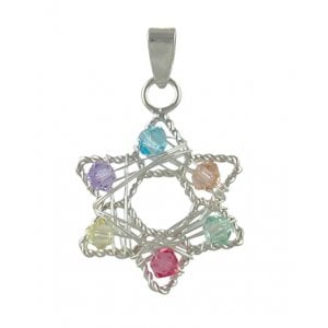 Sterling Silver Star of David Pendant with multicolor stones