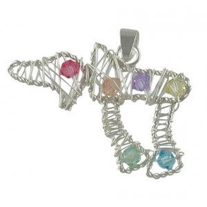 Silver Filigree Chai Pendant with multicolor stones