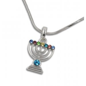 Rhodium Pendant Necklace, Silver 7 Branch Menorah - Colored Stones