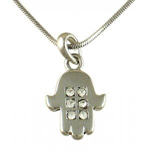 Hamsa Rhodium Pendant Necklace with Gleaming White Stones