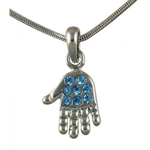 Rhodium Pendant Necklace, Open Palm Hamsa with Blue Stones