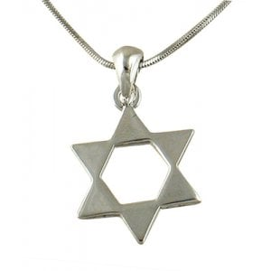 Rhodium Pendant Necklace - Open Star of David Necklace
