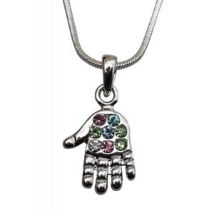Open Hamsa Rhodium Pendant Necklace with Multicolor Stones