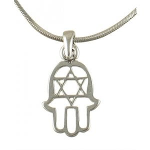 aJudaica Hamsa Star of David Rhodium Necklace