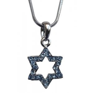 Star of David with blue stones Rhodium Necklace