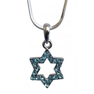 Star of David with light blue stones Rhodium Necklace