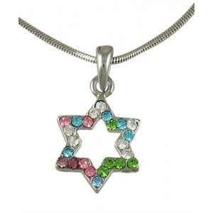 Star of David with multicolor stones Rhodium Necklace