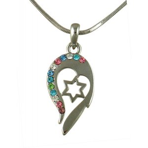 Star of David Coloful Heart Design Rhodium Necklace