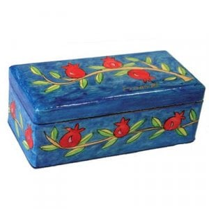 Yair Emanuel Hand Painted Travel Shabbat Candlesticks in Wood Box - Pomegranates