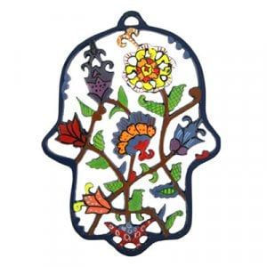 Yair Emanuel Colored Hand-Painted Laser Cut Wall Hamsa - Flowers