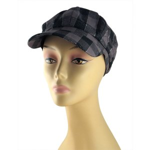 Womens Checked Cap with Metallic Threads