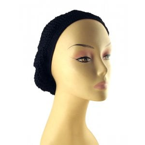 Short Length Woman's Black Lined Snood – Small Crocheted Stitch