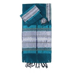 Gabrieli Handwoven Green Silk Prayer Shawl Tallit Set - Silver Stripes