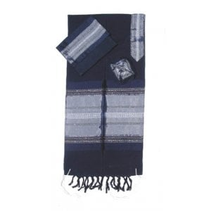 Gabrieli Handwoven Dark Blue Silk Tallit Set - Silver Stripes