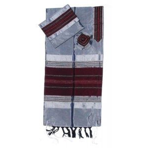 Gabrieli Handwoven Gray Silk Tallit Set - Maroon Stripes