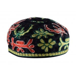 Black Bucharian Hand Embroidered Kippah