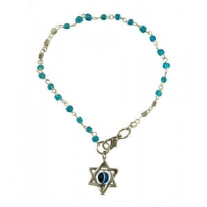 Beaded Kabbalah Bracelet with Decorative Star of David Charm - Light Blue
