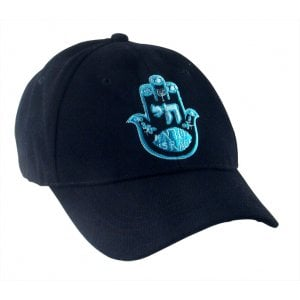 Lively Blue Hamsa and Chai on Black Cap