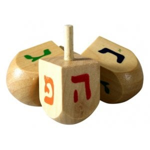 Large Wood Dreidels with Colorful letters