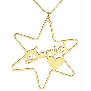 Gold Filled Cursive English Name Necklace - Star of David