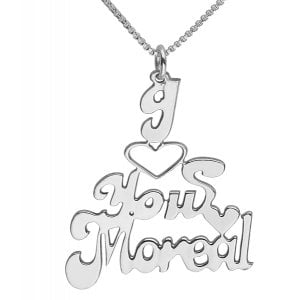Silver English Name Necklace - I Love You