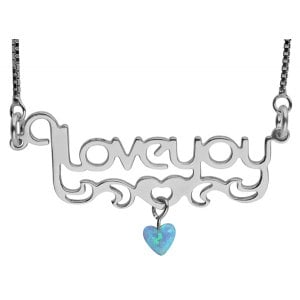 "Sterling Silver ""I Love You"" Necklace with Opal Heart"