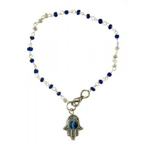 Beaded Kabbalah Bracelet with Decorative Hamsa Charm - Dark Blue