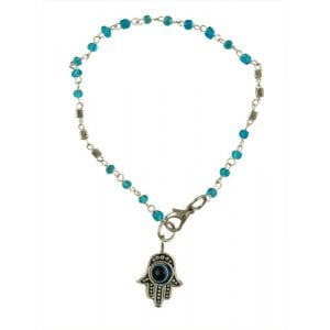 Beaded Kabbalah Bracelet with Decorative Hamsa Charm - Light Blue