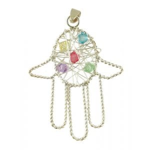 Silver Hamsa Pendant with multicolor stones