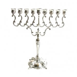 Silver Plated Chanukah Menorah - Curling Branches