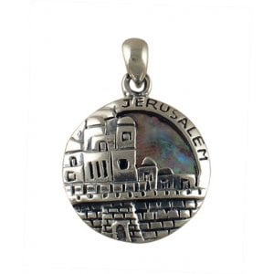 Silver and Opal Jerusalem Pendant