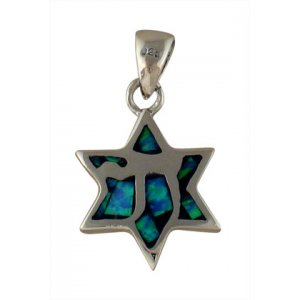Silver and Opal Star of David Chai Pendant