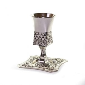 Square Silver plated Kiddush Cup with stem and Tray