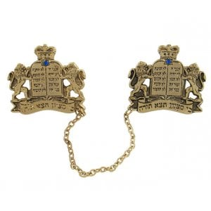 Gold Plated Tallit Prayer Shawl Clips - Tablets, Star of David and Lions