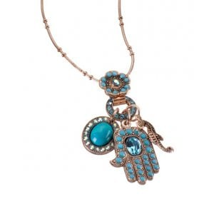 AMARO Oriental Hamsa Oval and Seahorse Necklace with Swarovski crystals