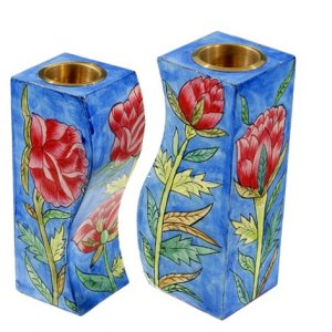 Yair Emanuel Hand-Painted Wood Fitted Candlesticks - Roses