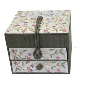 Yair Emanuel Wood & Fabric Embroidered Jewelry Box - Flowers