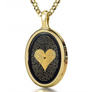 Onyx I Love You Pendant In Gold Frame - In 120 Languages