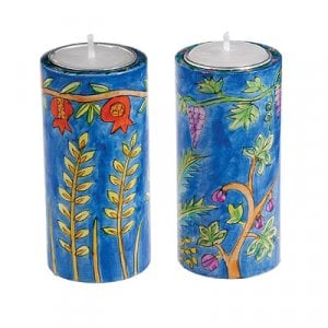 Yair Emanuel Cylinder Hand Painted Wood Shabbat Candlesticks - Seven Species