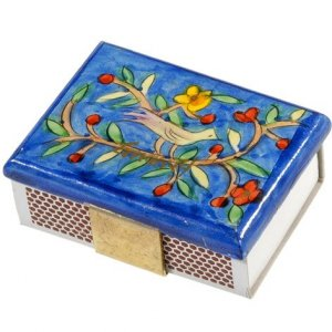 Yair Emanuel Painted Wood Matchbox Holder - Bird & Floral Theme