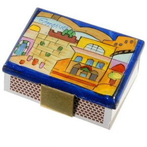 Yair Emanuel Painted Wood Matchbox Holder - Kotel and Jerusalem Scenes
