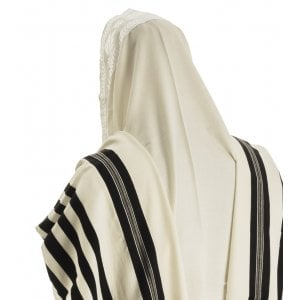 Talitnia Malchut Wool Non Slip Tallit Prayer Shawl with Handmade Tzitzit Strings - Black Stripes