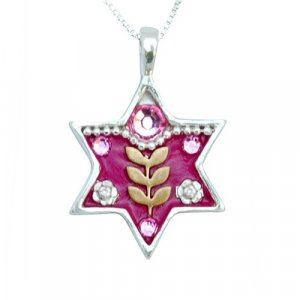 Pink Star of David Necklace by Ester Shahaf