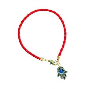 AJDesign Red Braided Cord Kabbalah Bracelet, Hamsa Charm with Blue Stone