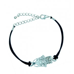 Rhodium Hamsa Bracelet on Leather Cord