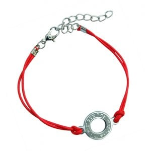 AJDesign Round Shema prayer on red cord bracelet