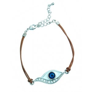 Double Brown Cord Kabbalah Bracelet - Enamel Eye Centerpiece with Stones